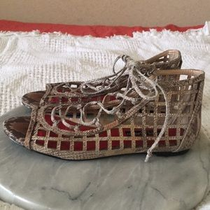 Charles Jourdan Caged Lace Up Sandals Size 6